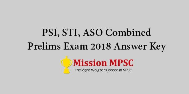PSI STI ASO combined prelims exam 2018 Answer key